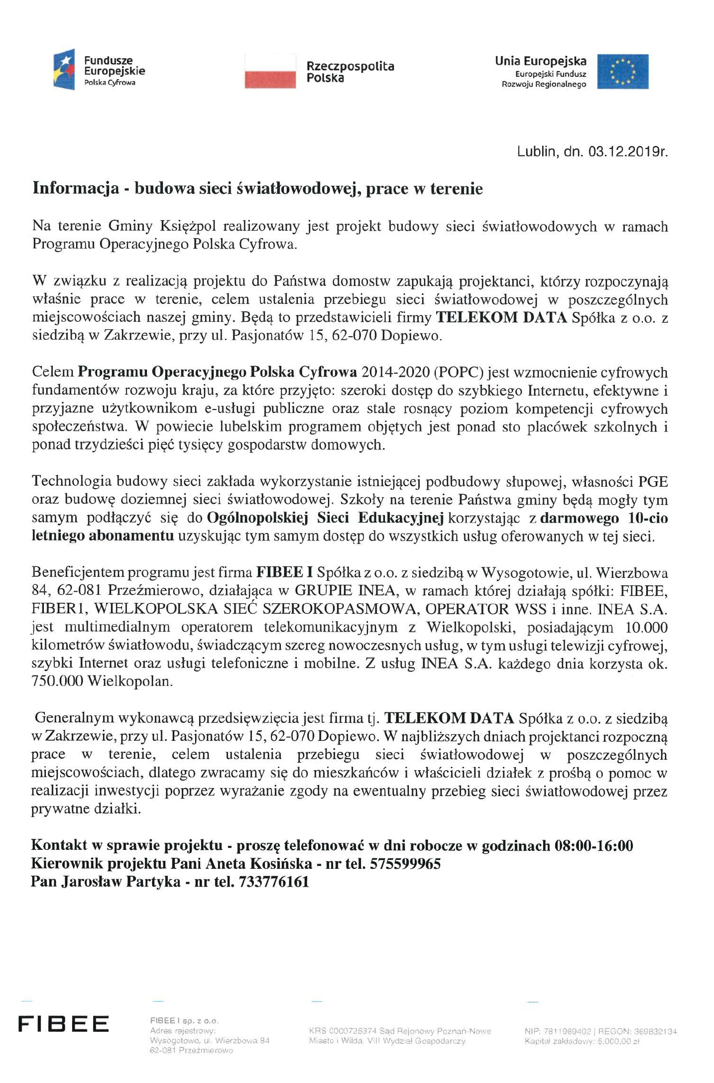 Informacja - budowa sieci światłowodowej na terenie Gminy Księżpol
